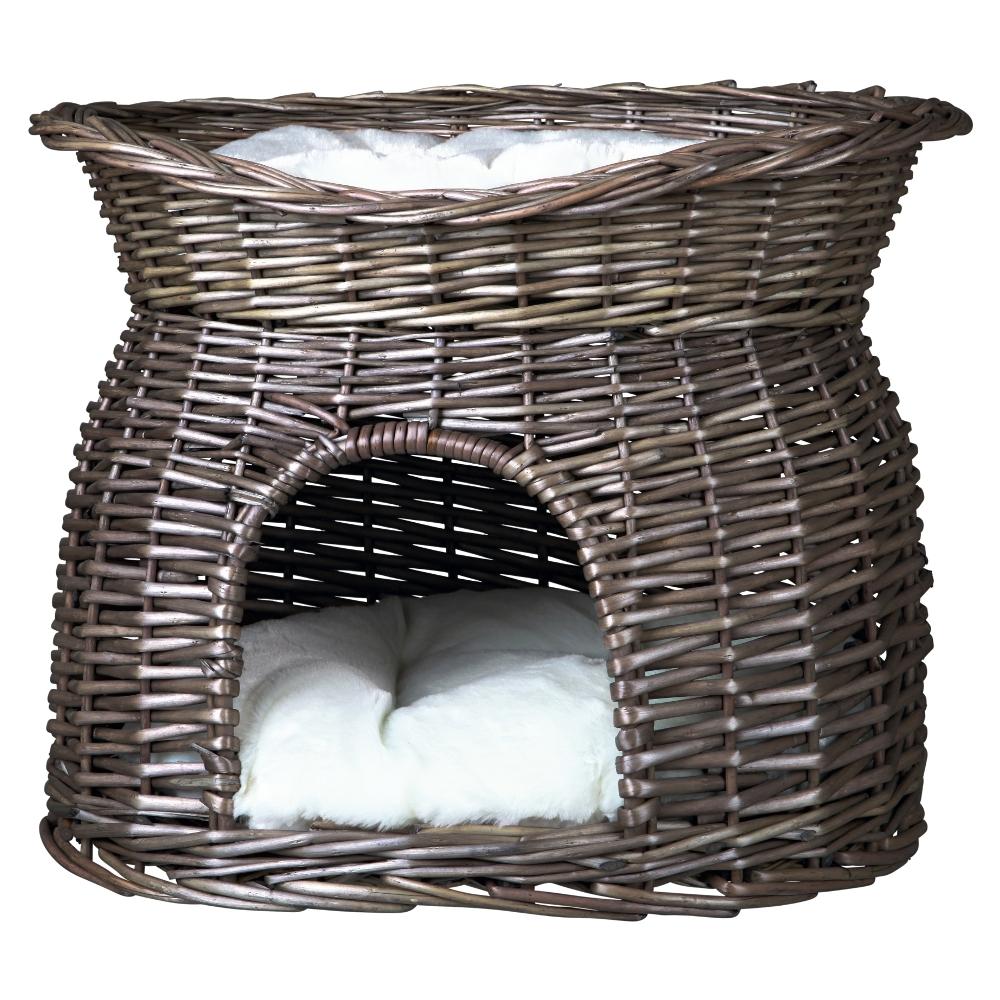 weiden korbh hle mit liegedach und 2 kissen f r katzen grau. Black Bedroom Furniture Sets. Home Design Ideas