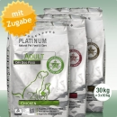 Platinum Natural Food Adult TRIO, Chicken - Lamb + Rice - Iberico + Greens, 3 x 10 kg
