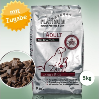 Platinum Natural Food Adult Lamm + Reis, 5 kg