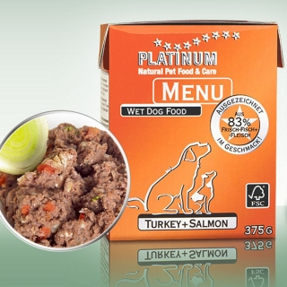 Platinum Natural Food Nassfutter MENU Turkey + Salmon (Truthahn + Lachs)